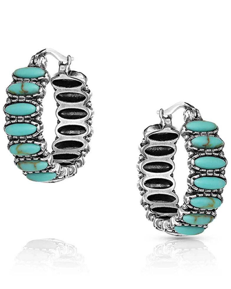 Montana Silversmiths Women's Turquoise Run Earrings, Silver, hi-res