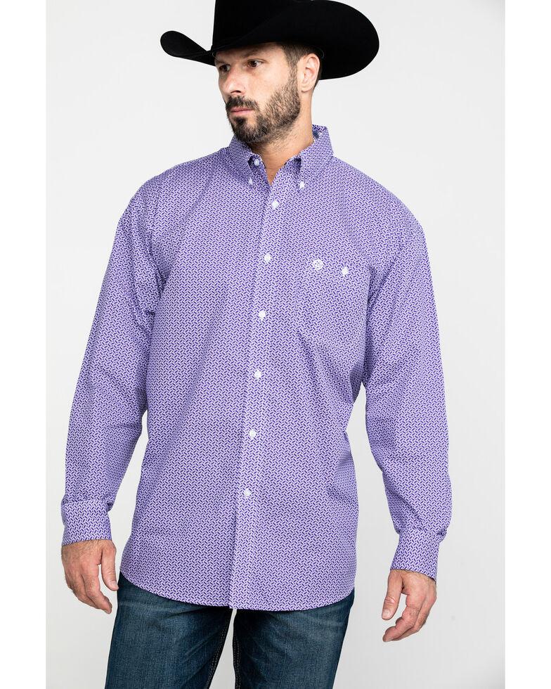 George Strait By Wrangler Men's Multi Geo Print Long Sleeve Western Shirt , Purple, hi-res