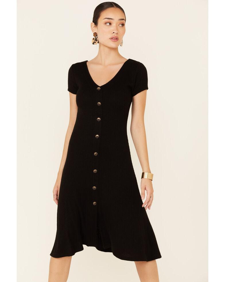 HYFVE Women's Black Button Front Midi Dress, Black, hi-res