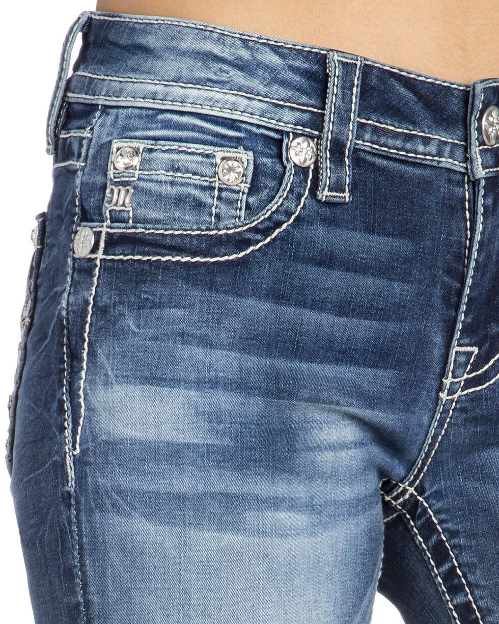 Miss Me Women's Thick Fleur De Lis Boot Cut Jeans, Indigo, hi-res