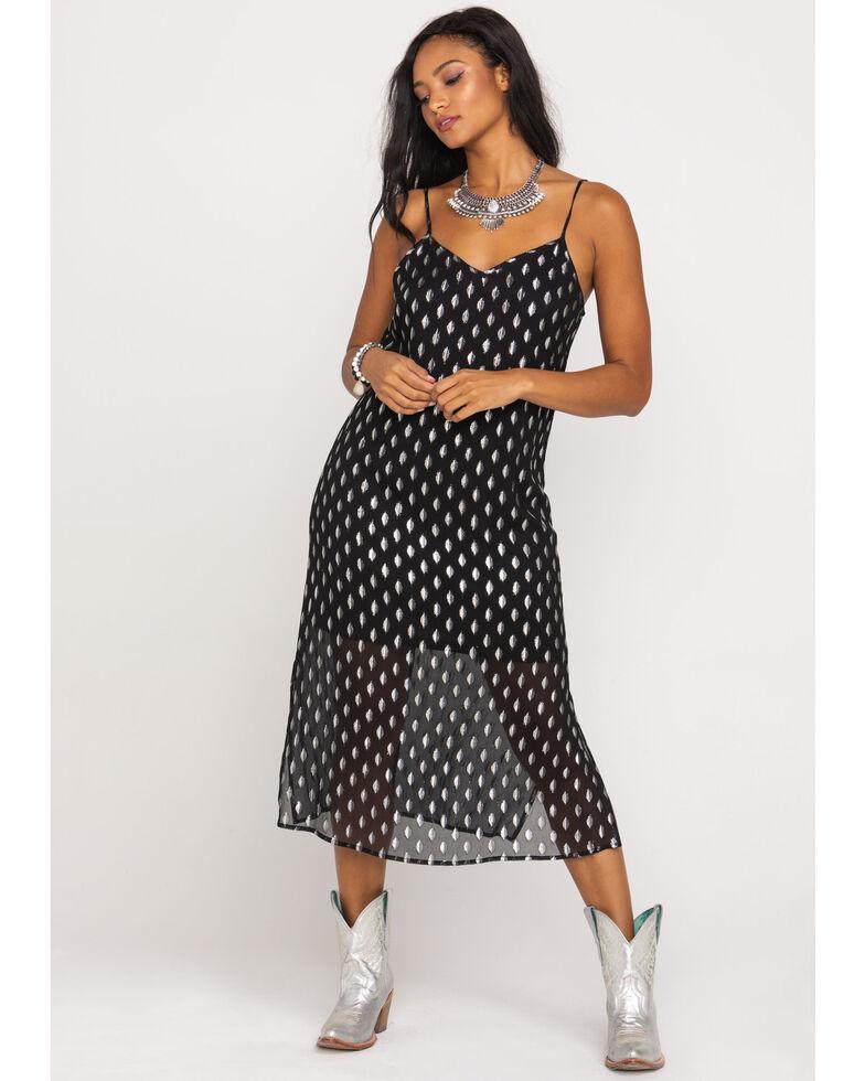 Band of Gypsies Women's Black Dot Slip Midi Dress, Black, hi-res