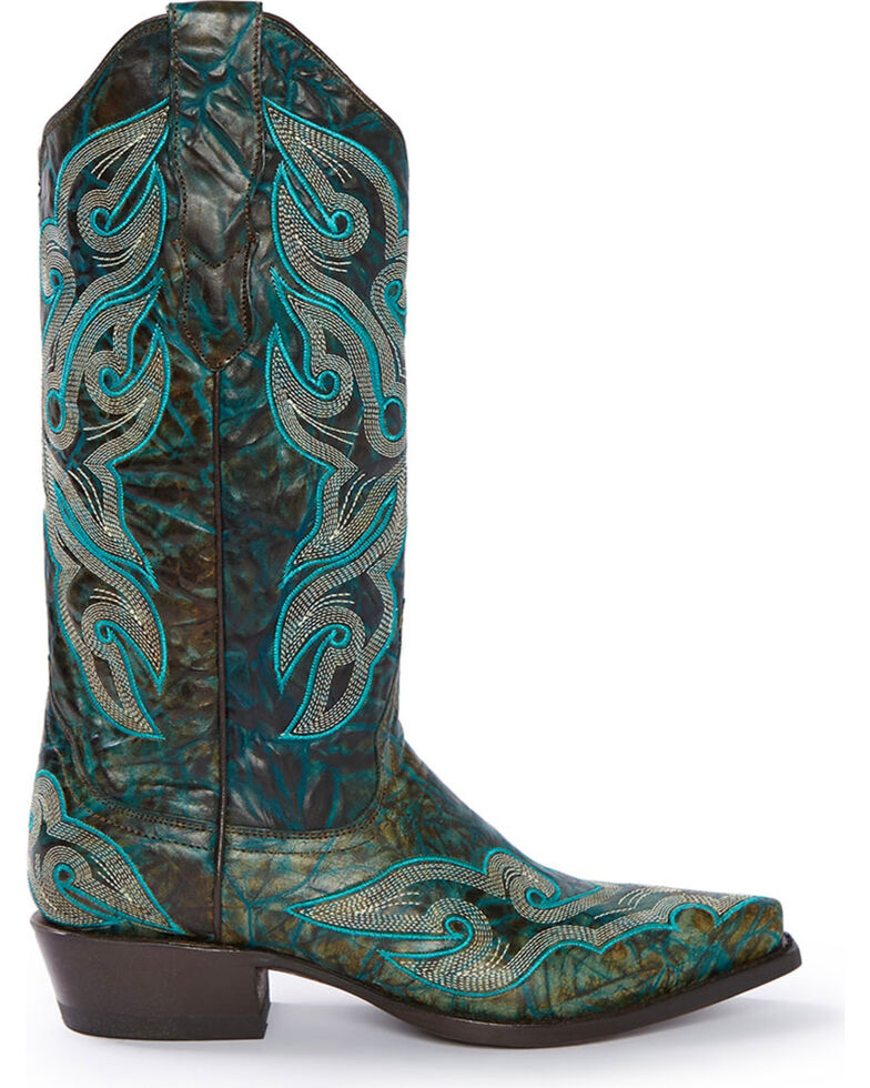 Stetson Women's Vintage Marbled Western Boots, Green, hi-res