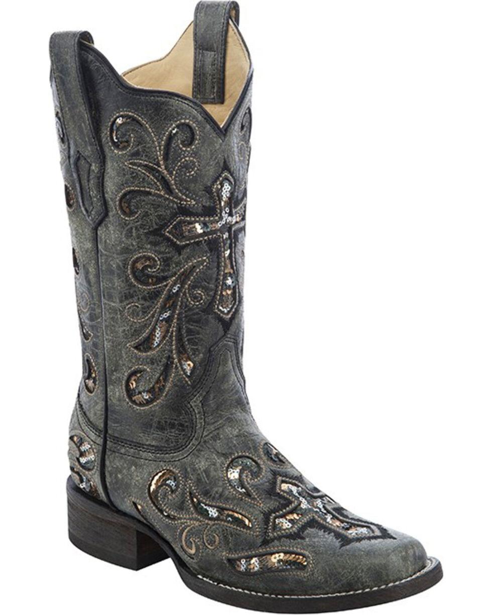 Corral Women's Sequin Cross Western Boots, Black, hi-res