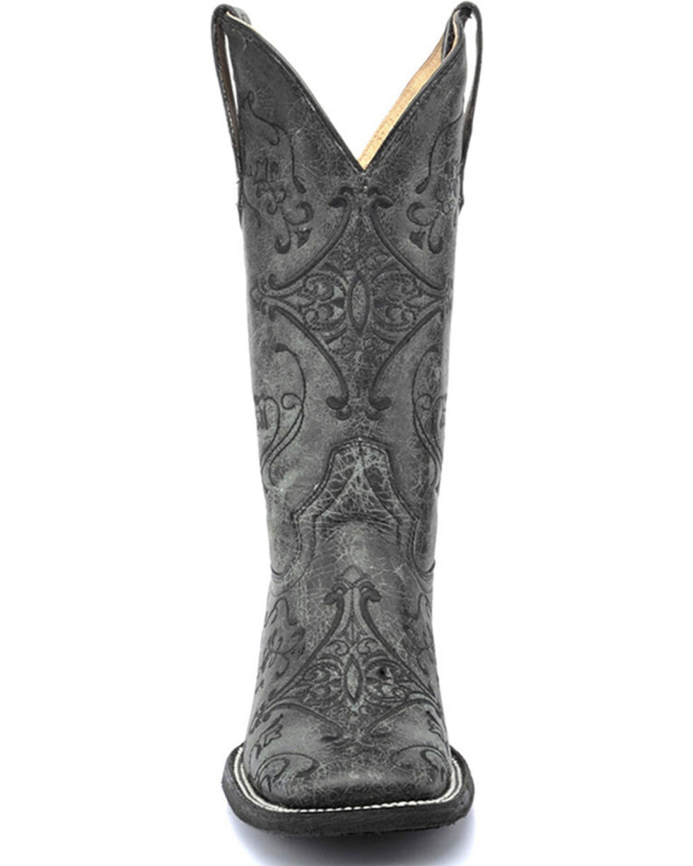 Circle G by Corral Women's Embroidered Swirl Wide Square Toe Western Boots, Black, hi-res