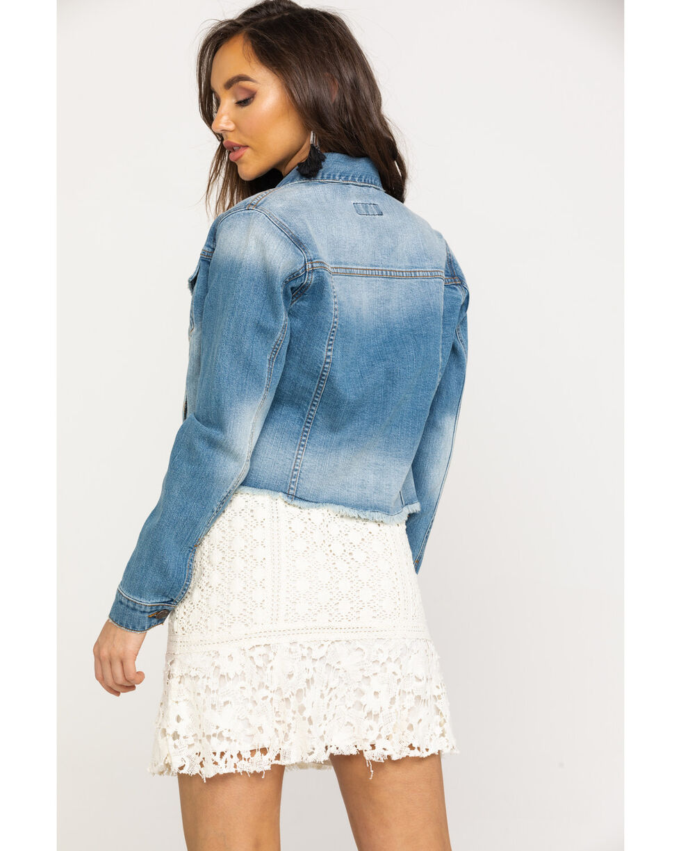 Shyanne Women's Distressed Crop Denim Jacket, Blue, hi-res