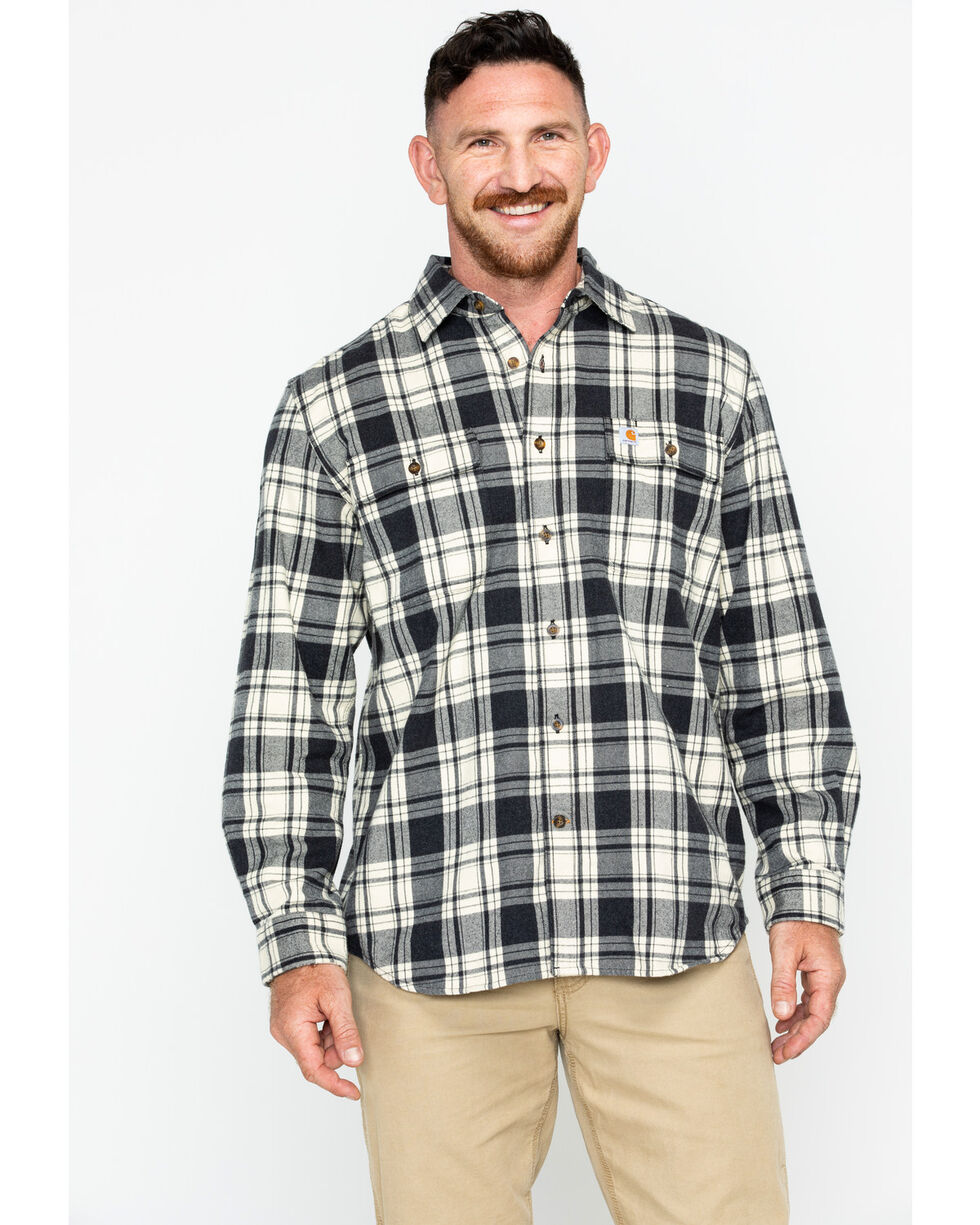 Carhartt Men's Hubbard Long Sleeve Plaid Flannel Work Shirt , Black, hi-res