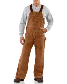 Carhartt Men's Sandstone Duck Quilt Lined Bib Overalls, Carhartt Brown, hi-res