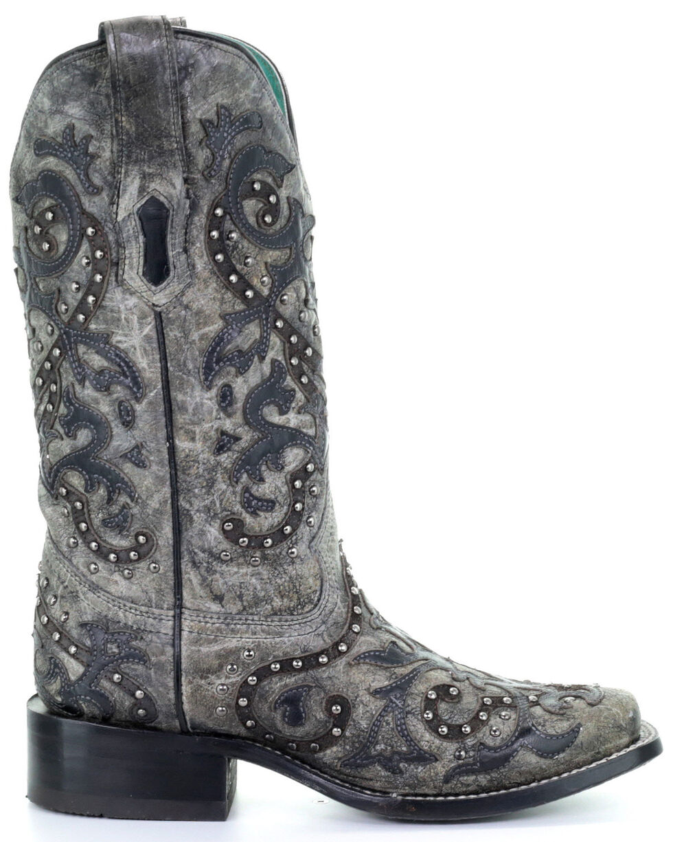Corral Women's Black Studded Overlay Western Boots - Square Toe, Black, hi-res
