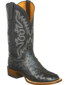 Lucchese Men's Handmade Harmon Full Quill Ostrich Western Boots - Square Toe, Black, hi-res