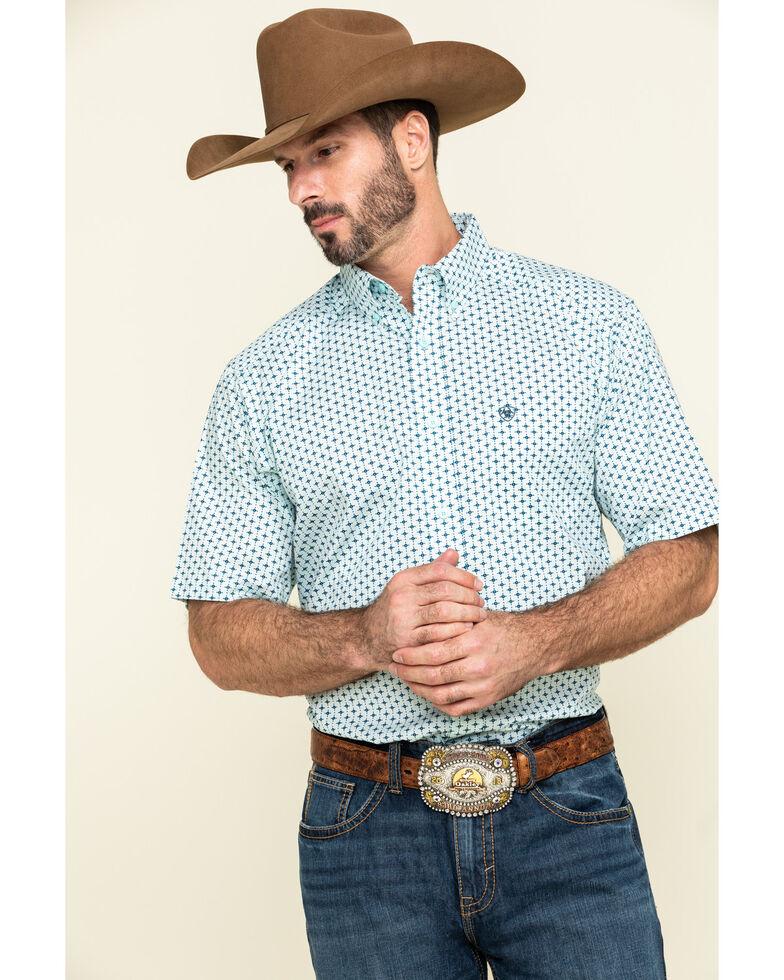 Ariat Men's Reedley Stretch Geo Print Short Sleeve Western Shirt - Tall , Turquoise, hi-res