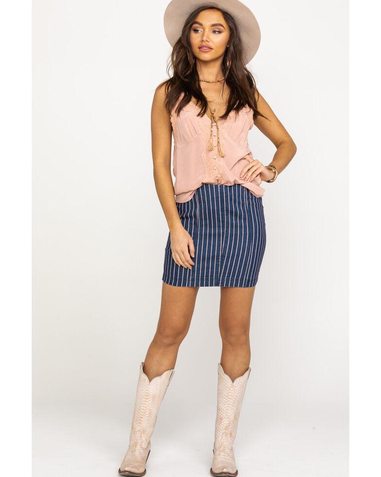 Others Follow Women's Blue Pinstripe Lexi Skirt, Blue, hi-res