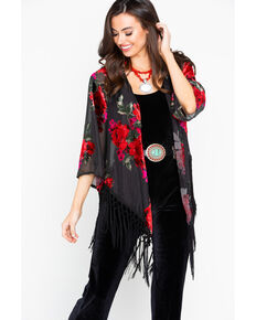 Wrangler Women's Velvet Burnout Fringe Cardigan, Black/red, hi-res