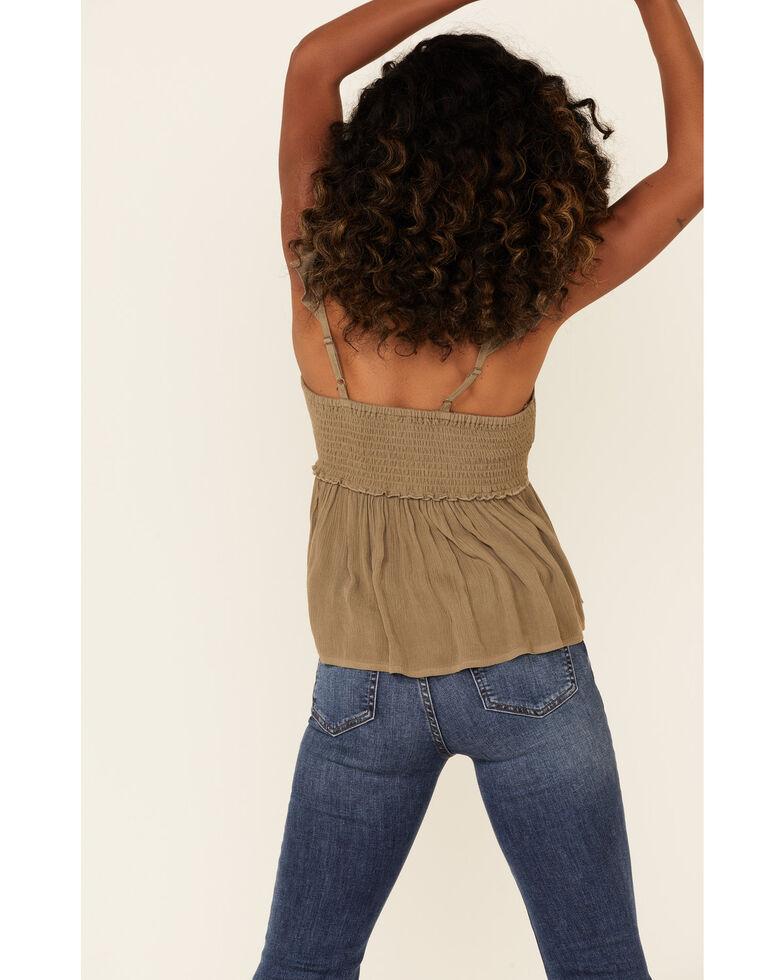 Shyanne Women's Embroidered Flutter Short Sleeve Top , Olive, hi-res