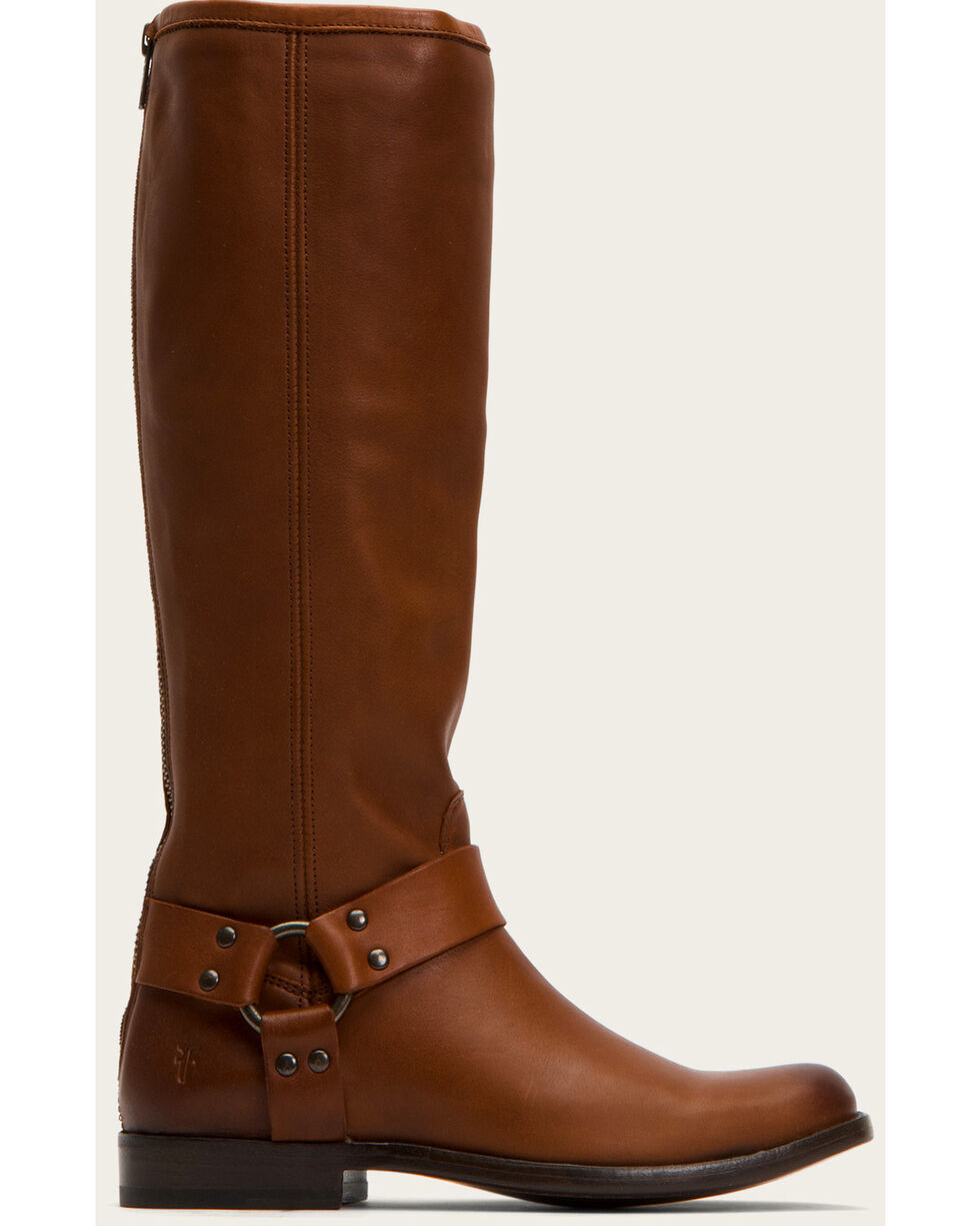 Frye Women's Cognac Phillip Harness Tall Boots - Round Toe , Cognac, hi-res