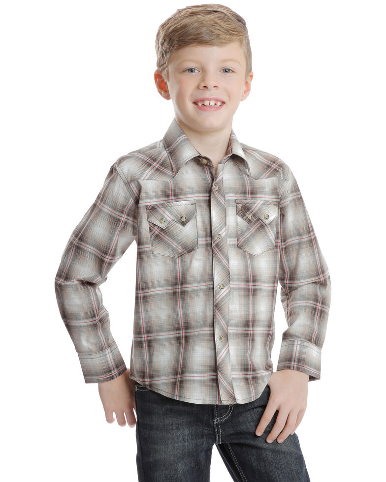 Wrangler Retro Boys' Brown Plaid Long Sleeve Western Shirt , Brown, hi-res