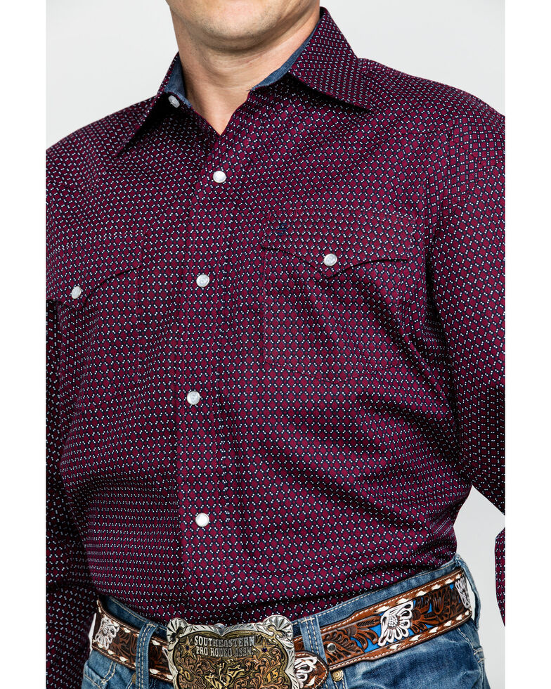 Stetson Men's Wine Geo Print Snap Long Sleeve Western Shirt , Wine, hi-res