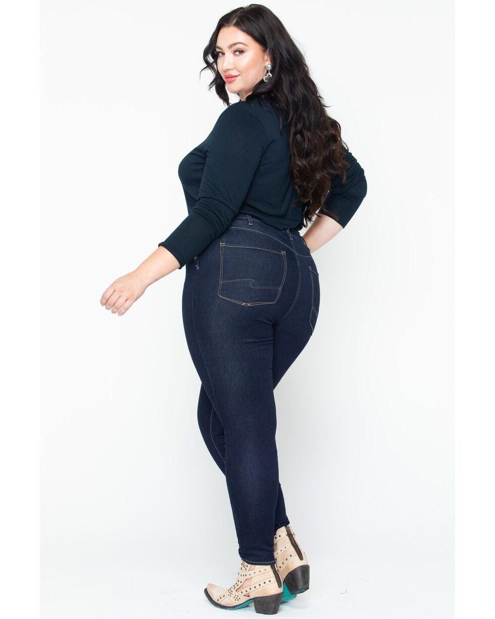 Silver Women's Dark Robson Jeggings - Plus Size, Indigo, hi-res
