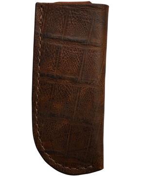 3D Men's Croc Print Leather Large Knife Holder, Brown, hi-res