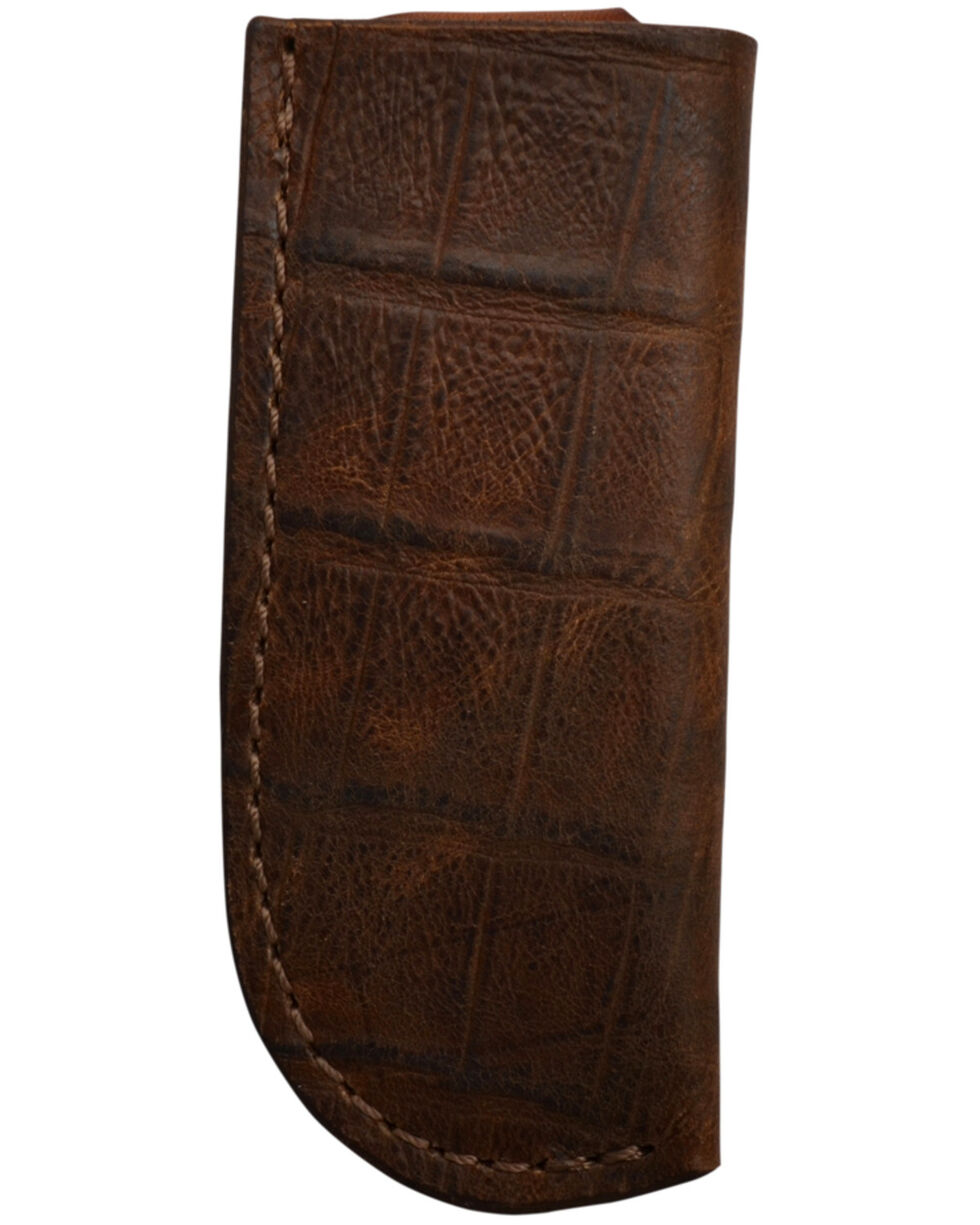 3D Men's Croc Print Leather Large Knife Holder, Brown, hi-res
