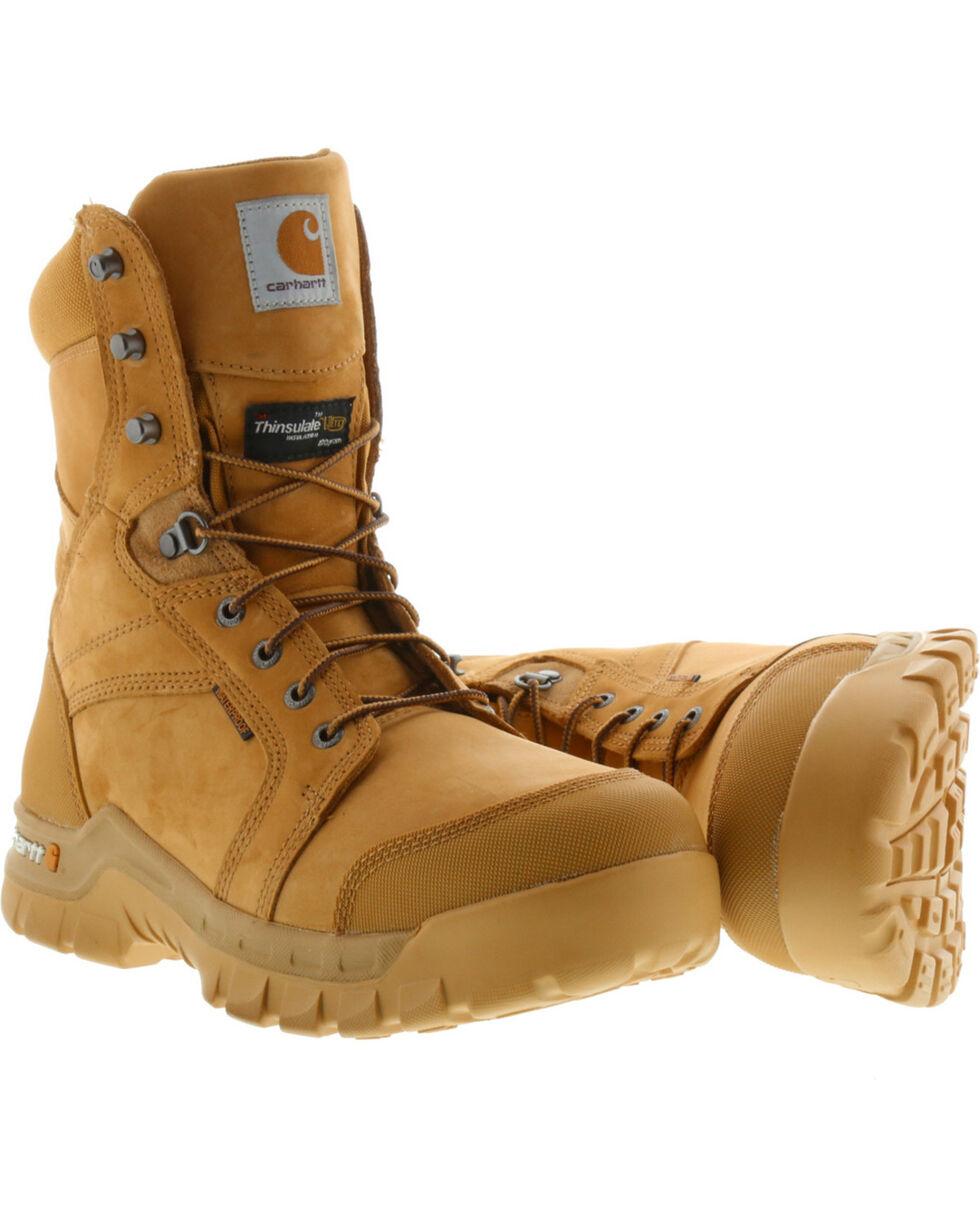 "Carhartt Men's 8"" Wheat Waterproof Insulated Rugged Flex Work Boots - Round Toe, Wheat, hi-res"