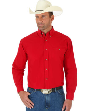 George Strait by Wrangler Men's Red Long Sleeve Western Shirt, Red, hi-res