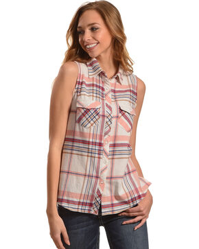 Shyanne Women's Plaid Sleeveless Shirt, Multi, hi-res