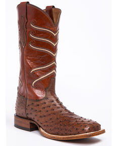 Tony Lama Men's Dark Brown/British Tan Full Quill Ostrich Cowboy Boots - Square Toe, Dark Brown, hi-res