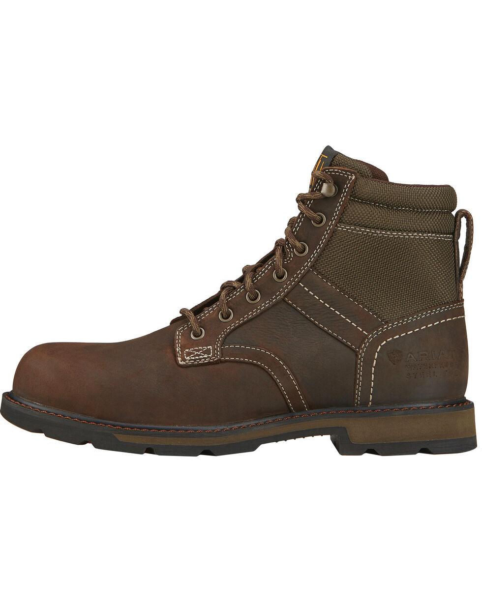 """Ariat Men's 6"""" Groundbreaker Waterproof Steel Toe Work Boots, Dark Brown, hi-res"""