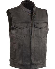 Milwaukee Leather Men's Black Open Neck Club Style Vest - Big 4X, Black, hi-res