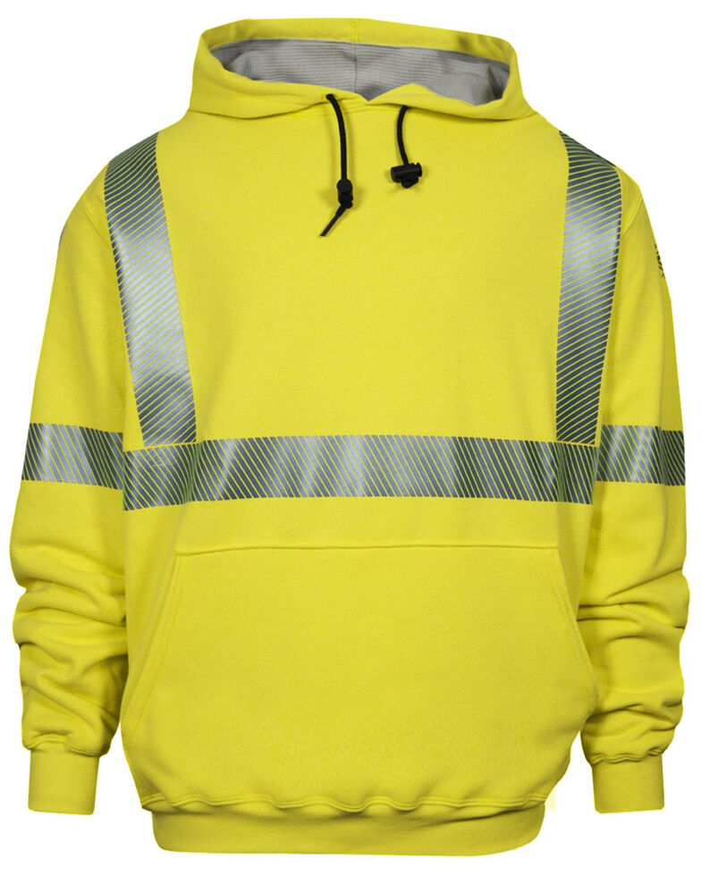 National Safety Apparel Men's FR Vizable Hi-Vis Waffle Weave Hooded Work Sweatshirt - Tall, Bright Yellow, hi-res