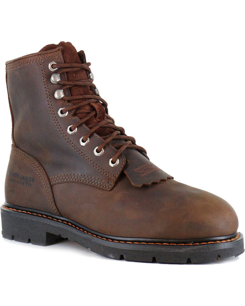 Cody James® Men's Lace-Up Round Composite Toe Kiltie Work Boots, Brown, hi-res