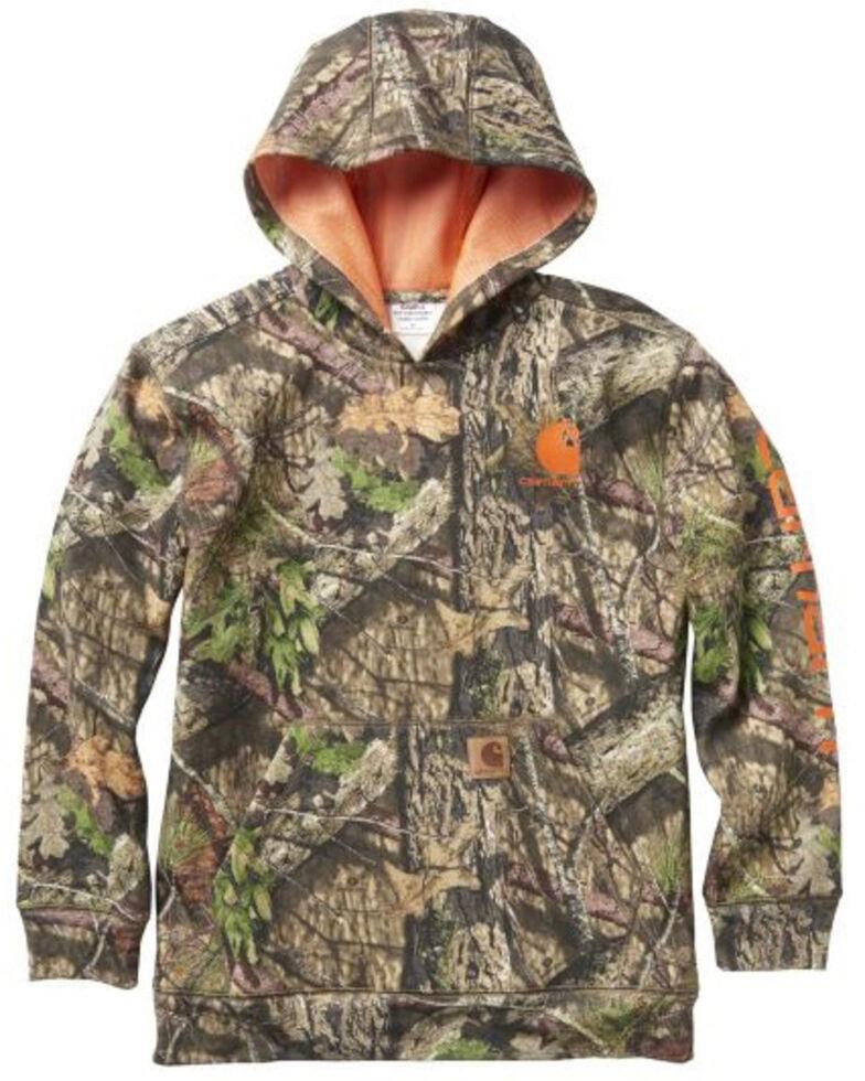 Carharrt Boys' Camo Hooded Fleece Pullover Jacket , Green, hi-res