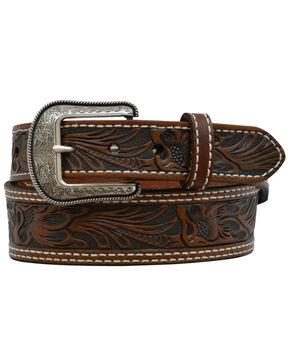 3D Men's Floral Tooled Leather Fashion Belt, Brown, hi-res