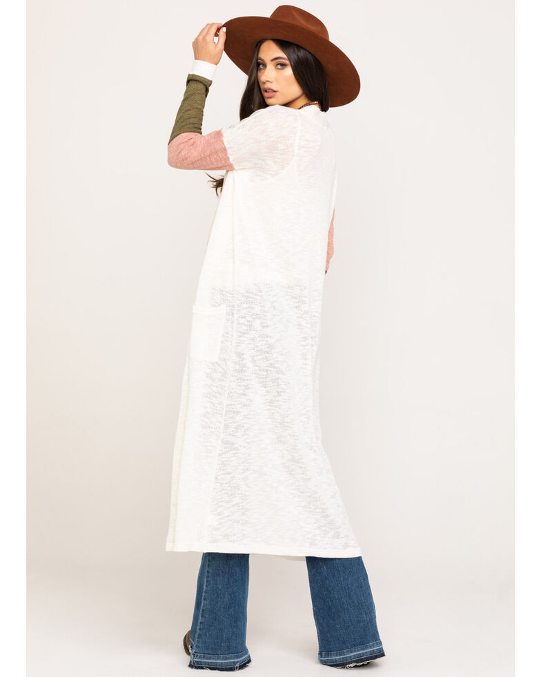 Eyeshadow Women's Color-Block Duster Cardigan, Ivory, hi-res