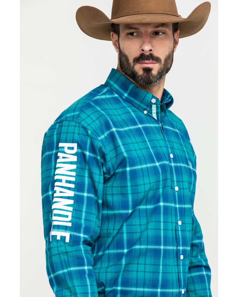 Rough Stock By Panhandle Men's Andover Ombre Plaid Logo Long Sleeve Western Shirt , Blue, hi-res