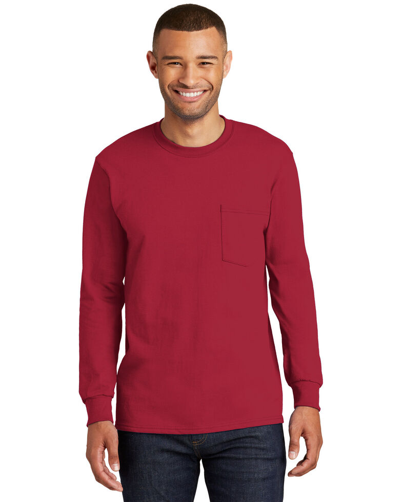 Port & Company Men's Red 2X Essential Pocket Long Sleeve Work T-Shirt -Tall , Red, hi-res