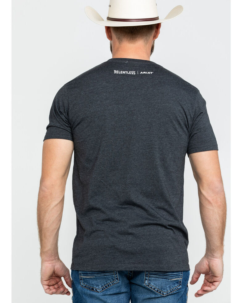 Ariat Men's Relentless American Flag Skull Graphic T-Shirt , Charcoal, hi-res