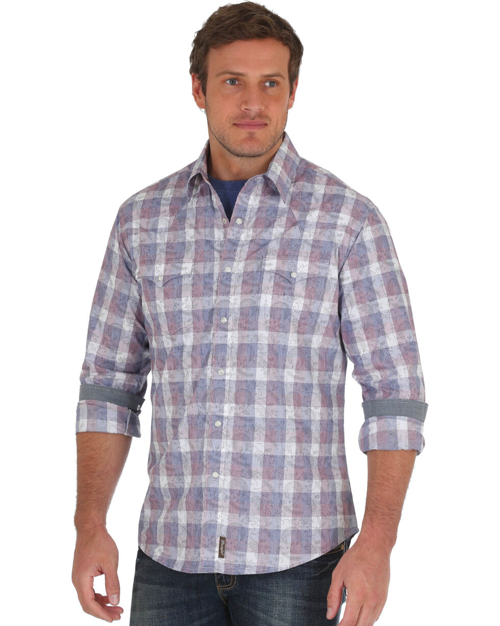 Wrangler Retro Men's Navy Premium Western Shirt - Big & Tall, Navy, hi-res