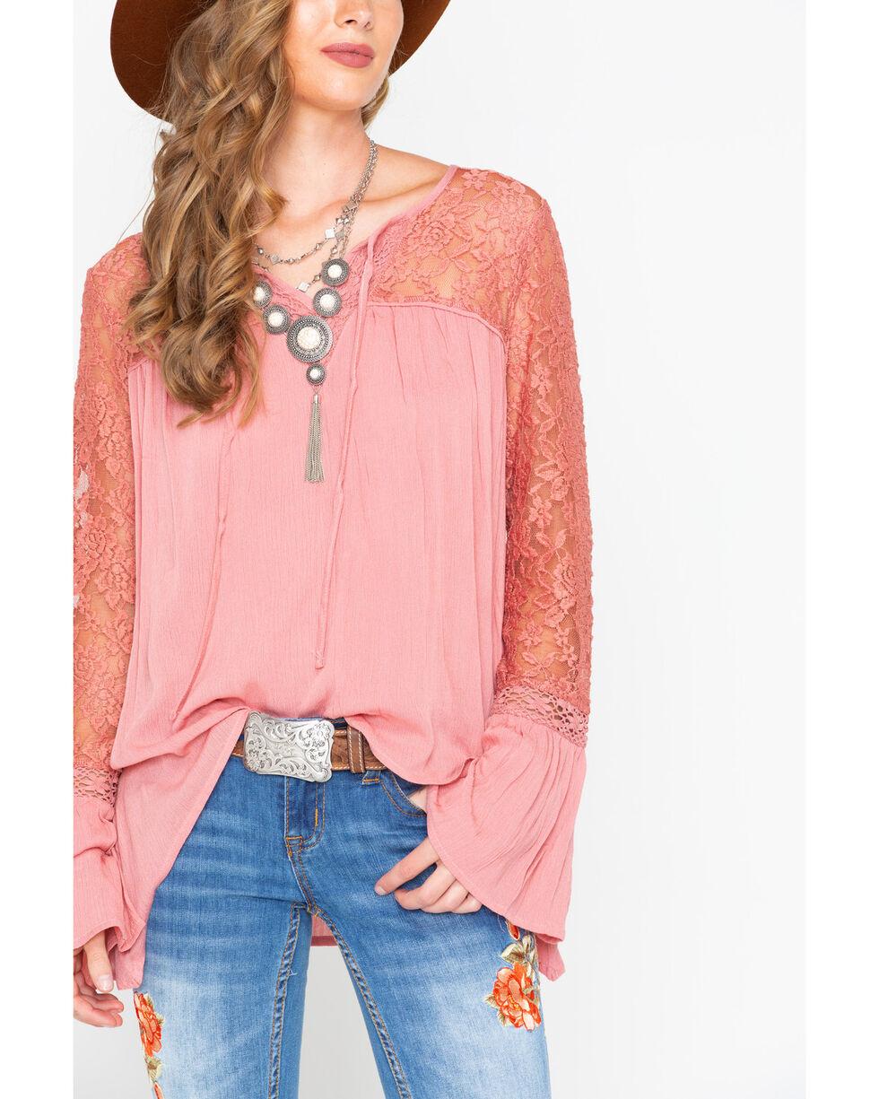 Wrangler Women's Rose Lace Sleeve Peasant Top , Mauve, hi-res
