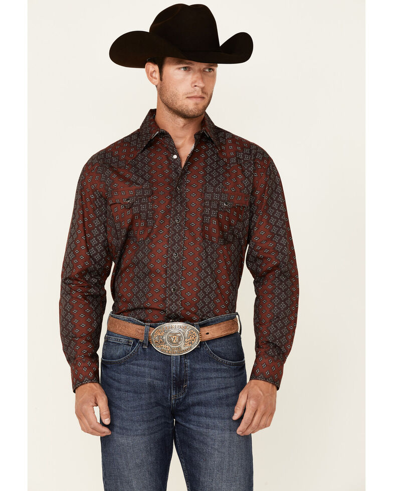 Rough Stock By Panhandle Men's Burgundy Ombre Stripe Long Sleeve Snap Western Shirt , Burgundy, hi-res