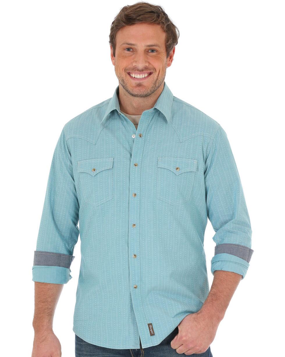 Wrangler Retro Men's Teal Long Sleeve Shirt , Teal, hi-res