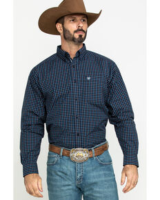 Ariat Men's Lemore Small Plaid Long Sleeve Western Shirt - Tall , Black, hi-res