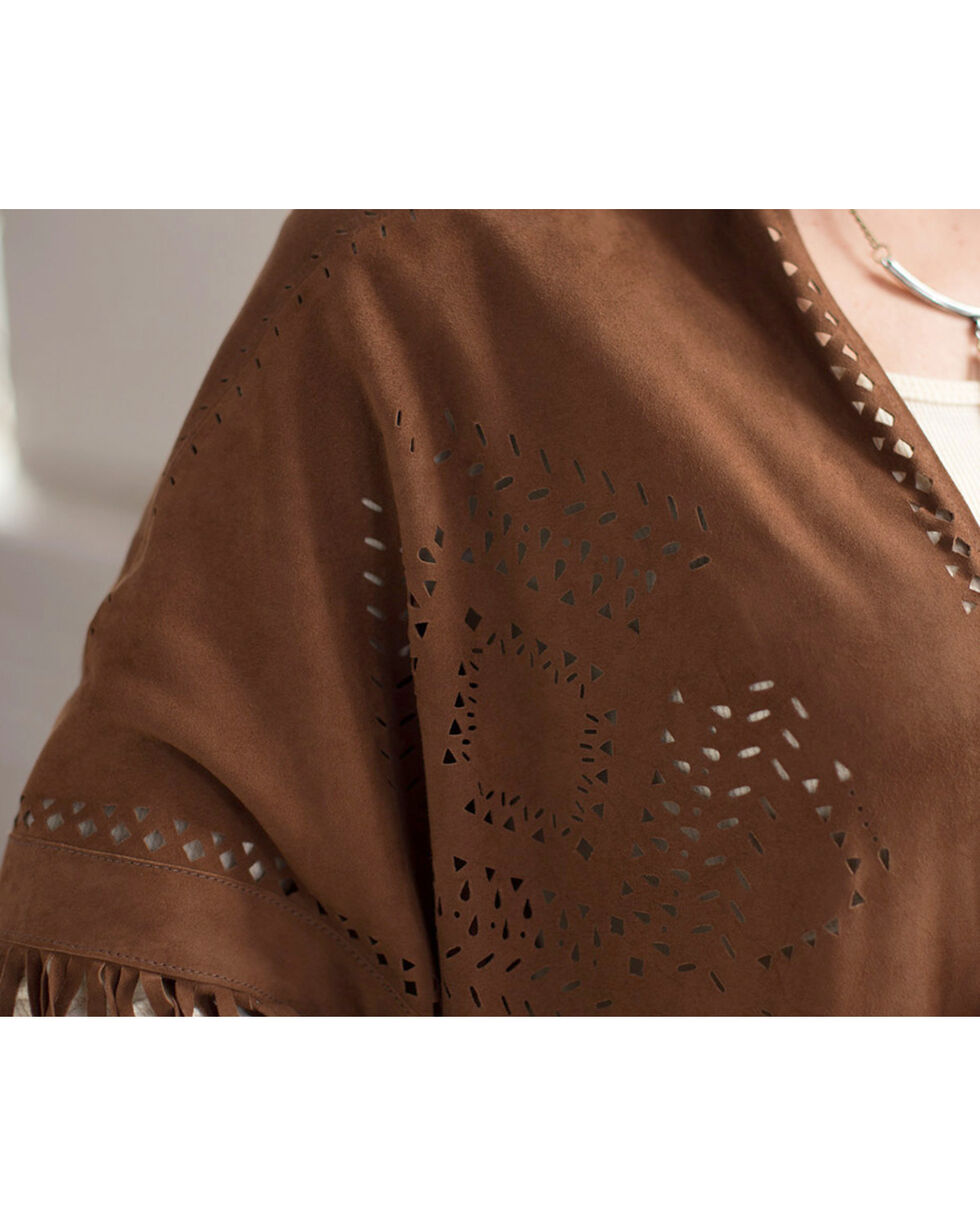 Ryan Michael Women's Perforated Leather Poncho, Cognac, hi-res
