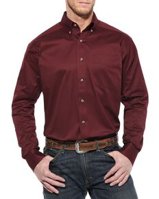 Ariat Men's Burgundy Solid Twill Long Sleeve Western Shirt - Big & Tall , Burgundy, hi-res