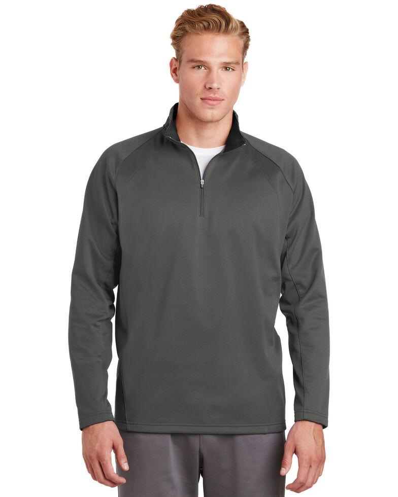 Sport Tek Men's Dark Smoke Grey & Black Sport Wick Fleece 1/4 Zip Pullover Sweatshirt , Multi, hi-res