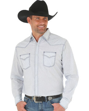 Wrangler 20X Men's White/Blue Competition Advanced Comfort Snap Shirt - Big & Tall, White, hi-res