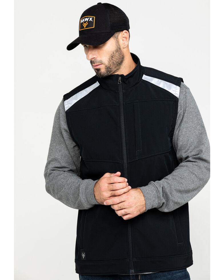 Hawx Men's Black Reflective Soft Shell Moto Work Vest - Tall , Black, hi-res