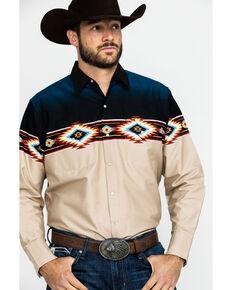 Ely Cattleman Men's Aztec Border Print Long Sleeve Western Shirt , Beige/khaki, hi-res