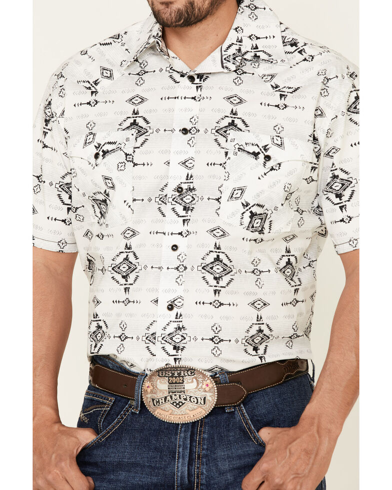 Rough Stock By Panhandle Men's Light Grey Aztec Print Short Sleeve Western Shirt , Light Grey, hi-res
