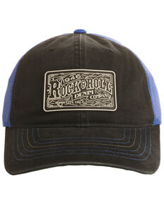 Rock & Roll Cowboy Men's Rubber Logo Patch Trucker Cap , Black, hi-res